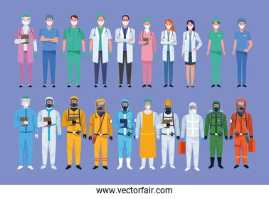group of medical staff healthcare workers characters