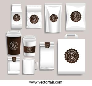 set of white elegant coffee packings products