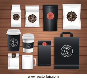set of elegant coffee packings with differents colors in wooden background