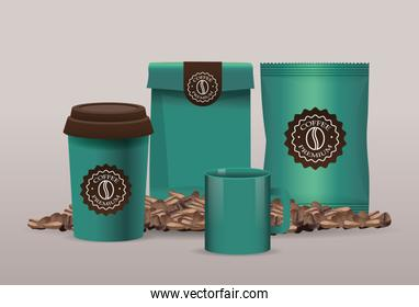 set of green elegant coffee packings products with grains
