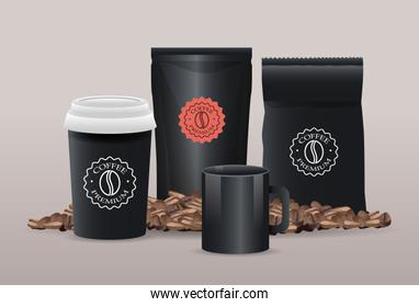 set of black elegant coffee packings products with grains