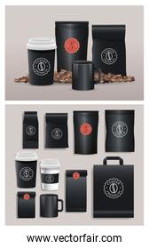 set of black elegant coffee packings products