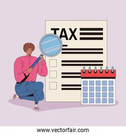 young man with tax and calendar character