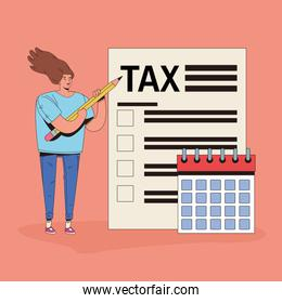 young woman with tax and calendar character