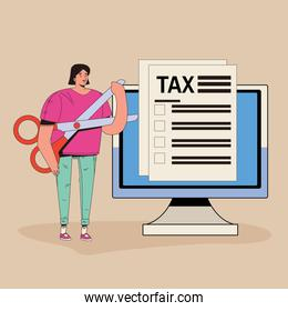 young woman with tax and computer character