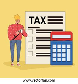 young man with tax and calculator character