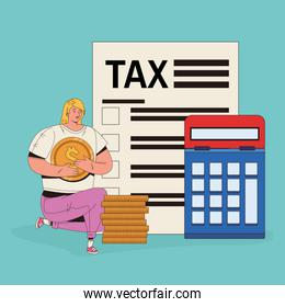 young woman with tax and calculator character