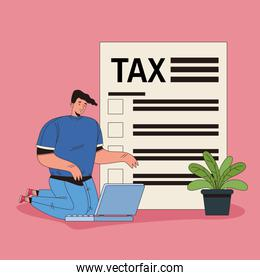 young man with tax and laptop character