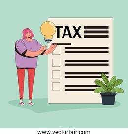 young woman with tax and bulb character