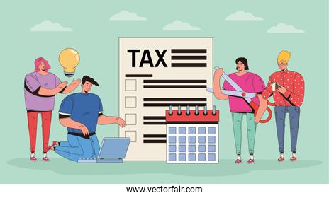 group of people with taxes and money icons