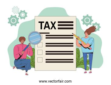 young couple with tax and magnifying glass
