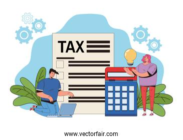 young couple with tax and calculator