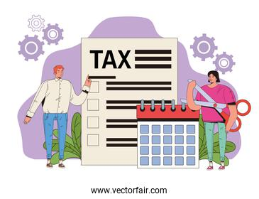 young couple with tax and calendar