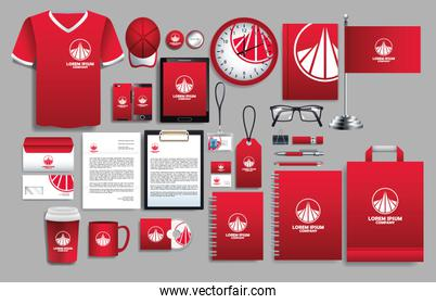 set of red elements with stationery templates