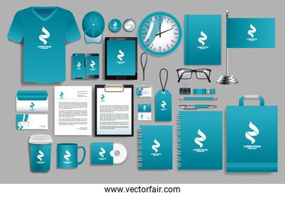 set of blue elements with stationery templates