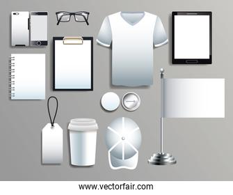 set of white elements with stationery templates
