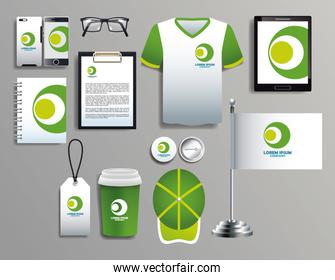 set of green and white elements with stationery templates