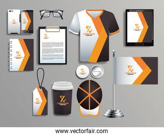 set of brown mockup brand corporate objects