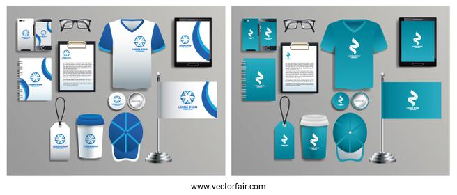 set of blue and white elements with stationery templates