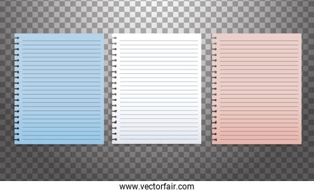 set of attachment banners paper icons