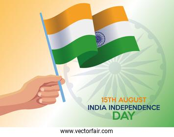 India independence day celebration with hand and flag