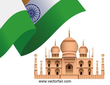India independence day celebration with taj mahal mosque and flag