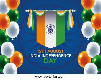 India independence day celebration with flag hanging and balloons helium