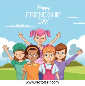 happy friendship day celebration with group of kids in the park