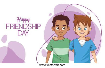 happy friendship day celebration with boys couple