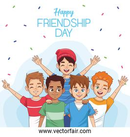 happy friendship day celebration with group of kids and confetti