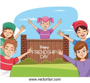 happy friendship day banner with group of kids and wooden door in the park