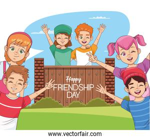 happy friendship day celebration with group of kids and wooden door in the park