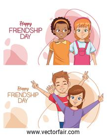happy friendship day celebration with group of kids