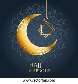 hajj mabrour celebration with golden moon and star