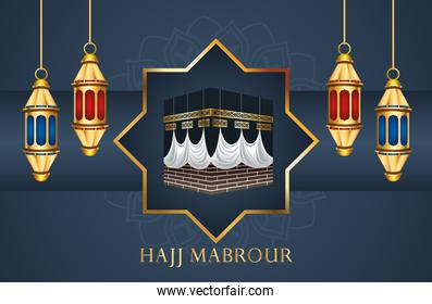 hajj mabrour celebration with golden lanterns hanging and mecca