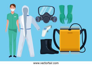 doctor with biosafety equipment elements for covid19 protection
