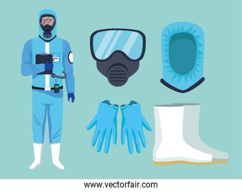 biosafety worker with equipment elements for covid19 protection
