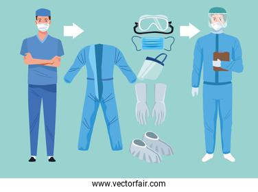 doctors with biosafety equipment elements for covid19 protection