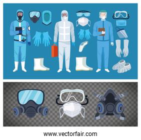 biosafety workers with equipment elements for covid19 protection