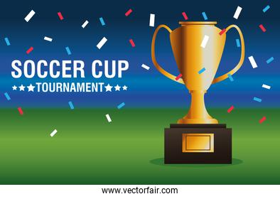 soccer cup tournament poster with trophy in camp