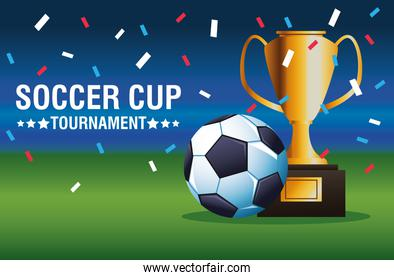 soccer cup tournament poster with balloon and trophy