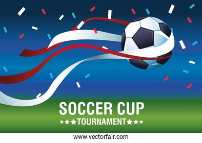 soccer cup tournament poster with balloon and confetti
