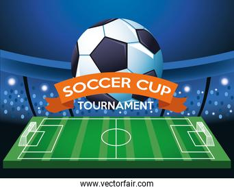 soccer cup tournament poster with balloon and football camp