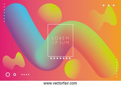 vibrant colors and dinamic background with square frame
