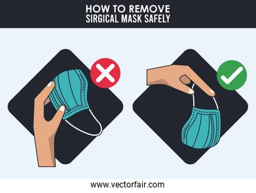 how to remove surgical mask safely infographic