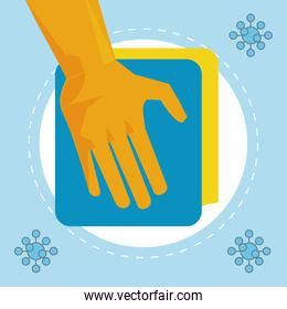 disinfect and clean activity with hand using cleaner cloths