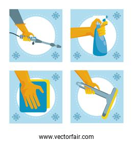 disinfect and clean activity with set equipment tools