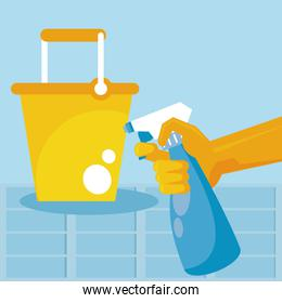 disinfect and clean activity with hand using splash bottle and bucket