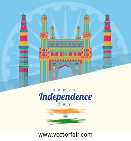 india independence day celebration with mosque temple