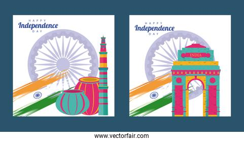 india independence day celebration with ashoka chakras and mosques